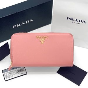 NIB PRADA Petalo Pink Leather Continental Wallet